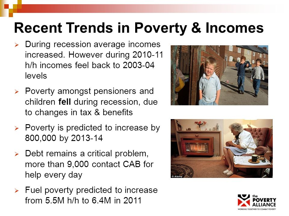 Recent Trends in Poverty & Incomes During recession average incomes increased.