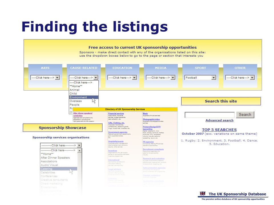 Finding the listings