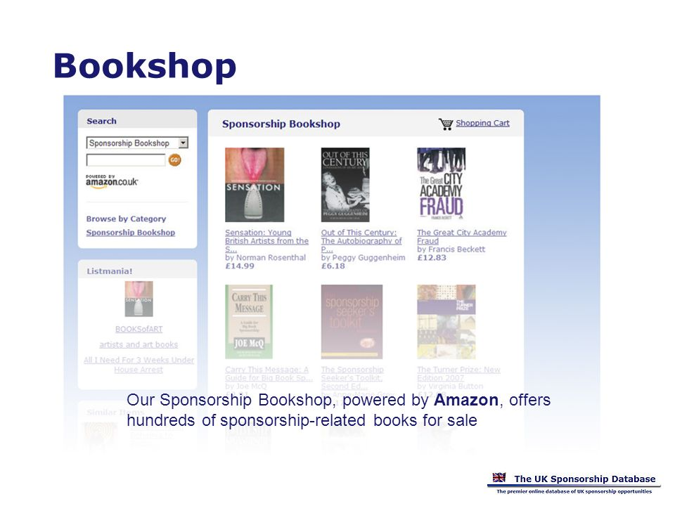 Bookshop Our Sponsorship Bookshop, powered by Amazon, offers hundreds of sponsorship-related books for sale