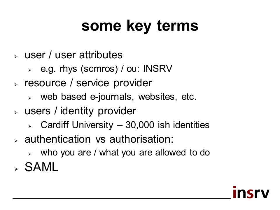 some key terms user / user attributes e.g.