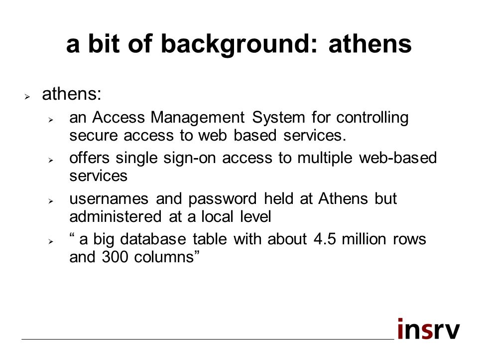 a bit of background: athens athens: an Access Management System for controlling secure access to web based services.