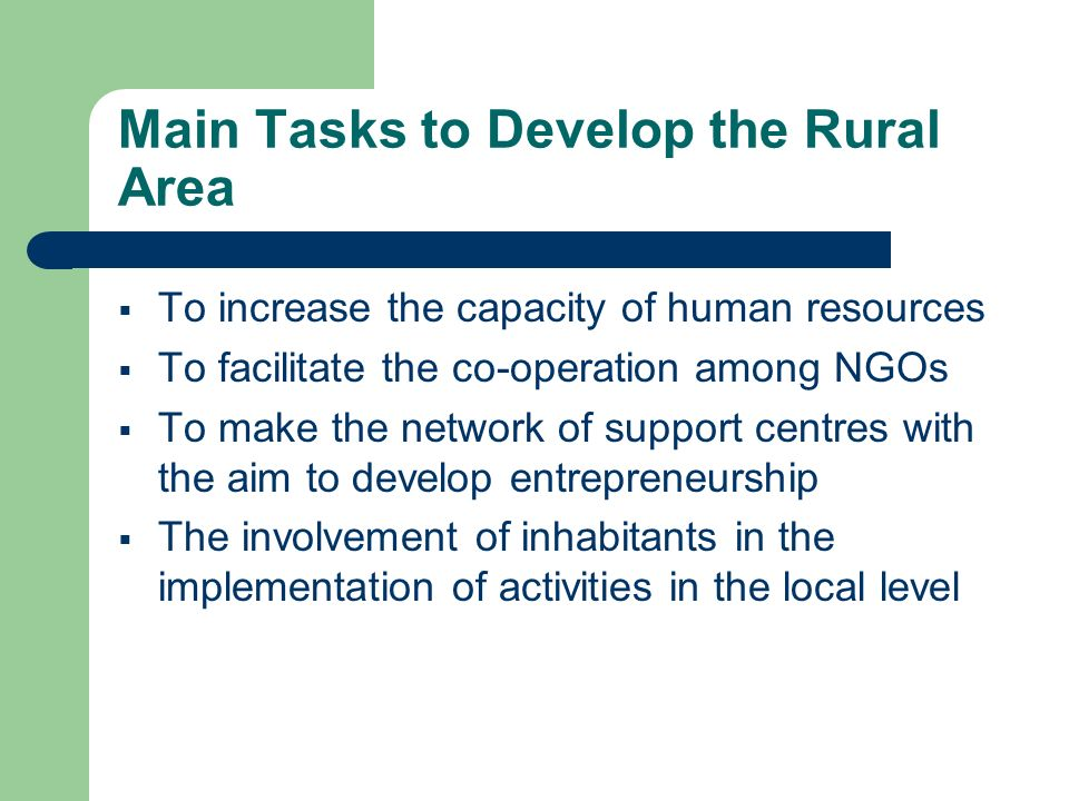 Main Tasks to Develop the Rural Area To increase the capacity of human resources To facilitate the co-operation among NGOs To make the network of support centres with the aim to develop entrepreneurship The involvement of inhabitants in the implementation of activities in the local level