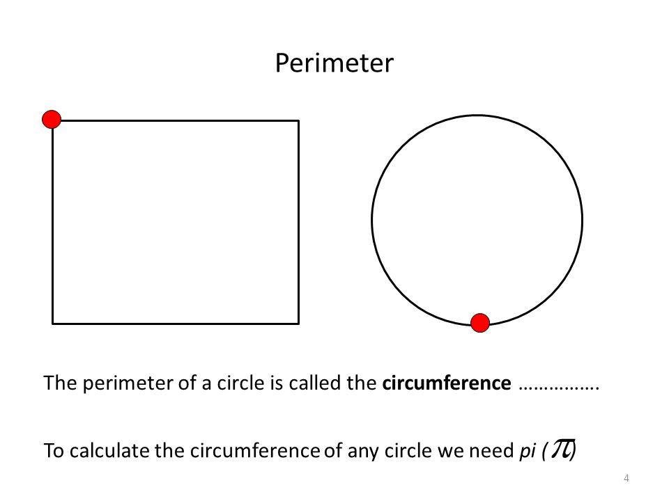 Perimeter The perimeter of a circle is called the circumference …………….