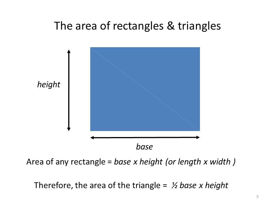 The area of rectangles & triangles Area of any rectangle = base x height (or length x width ) Therefore, the area of the triangle = ½ base x height height base 5
