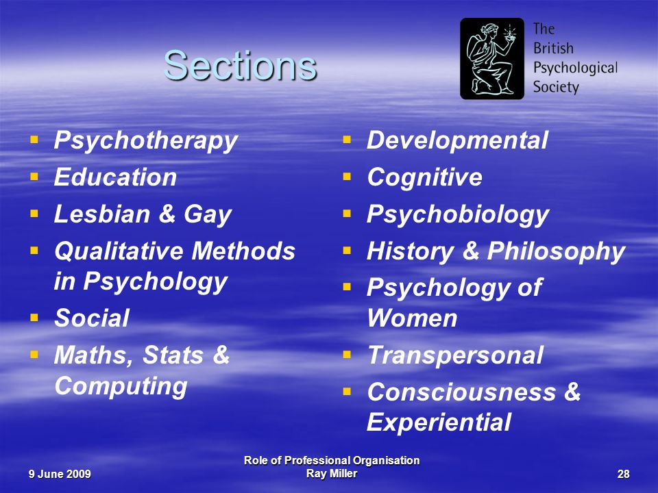 9 June 2009 Role of Professional Organisation Ray Miller28 Sections Psychotherapy Education Lesbian & Gay Qualitative Methods in Psychology Social Maths, Stats & Computing Developmental Cognitive Psychobiology History & Philosophy Psychology of Women Transpersonal Consciousness & Experiential