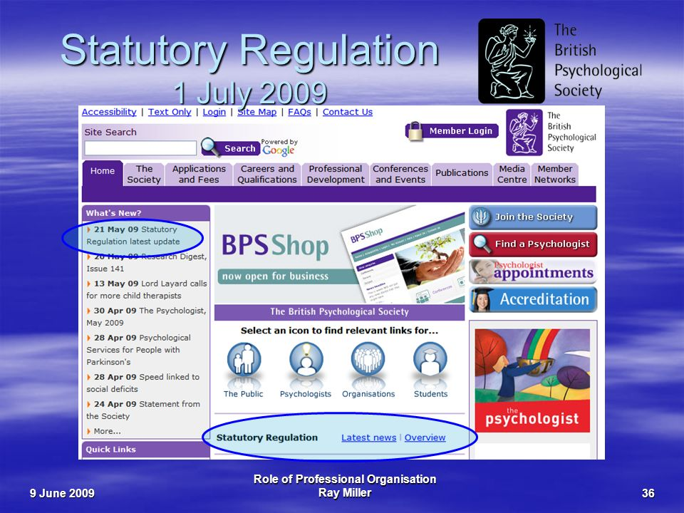 9 June 2009 Role of Professional Organisation Ray Miller36 Statutory Regulation 1 July 2009