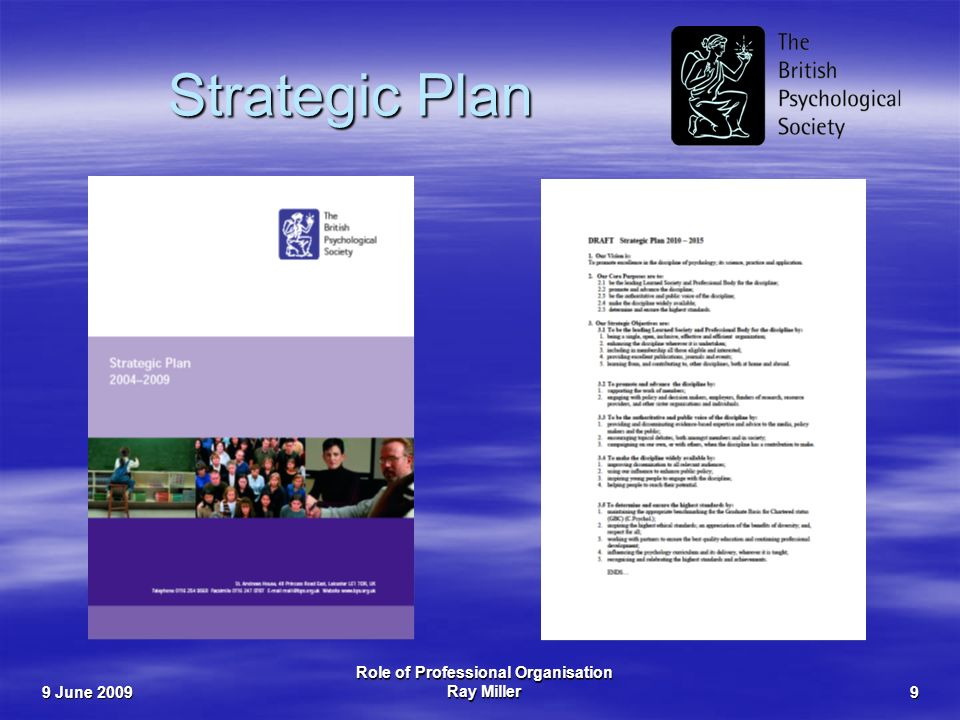 9 June 2009 Role of Professional Organisation Ray Miller9 Strategic Plan