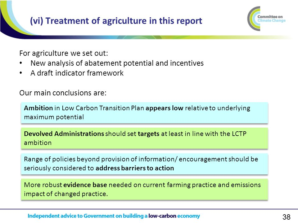 38 (vi) Treatment of agriculture in this report Ambition in Low Carbon Transition Plan appears low relative to underlying maximum potential Devolved Administrations should set targets at least in line with the LCTP ambition Range of policies beyond provision of information/ encouragement should be seriously considered to address barriers to action More robust evidence base needed on current farming practice and emissions impact of changed practice.