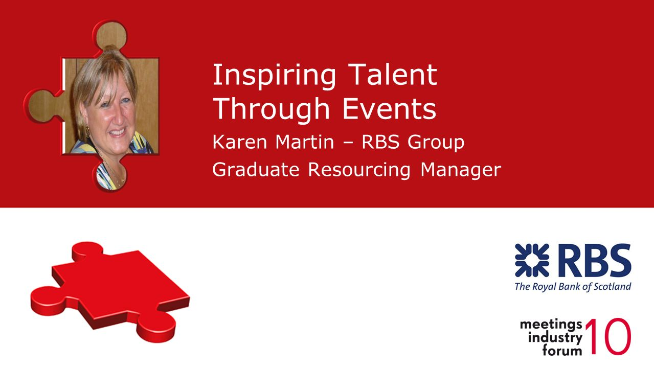 Inspiring Talent Through Events Karen Martin – RBS Group Graduate Resourcing Manager Placeholder for Speakers Photo