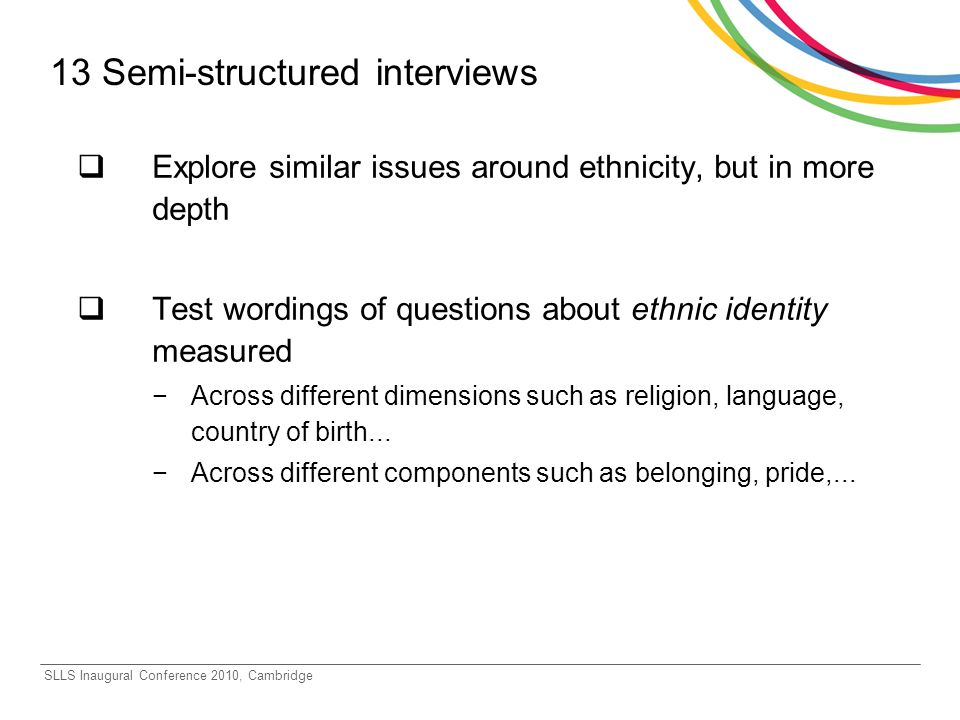 SLLS Inaugural Conference 2010, Cambridge 13 Semi-structured interviews Explore similar issues around ethnicity, but in more depth Test wordings of questions about ethnic identity measured Across different dimensions such as religion, language, country of birth...