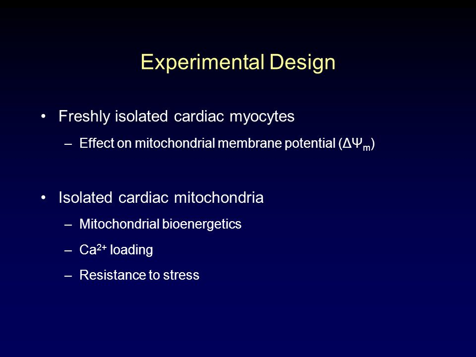 Freshly isolated cardiac myocytes –Effect on mitochondrial membrane potential (ΔΨ m ) Isolated cardiac mitochondria –Mitochondrial bioenergetics –Ca 2+ loading –Resistance to stress Experimental Design