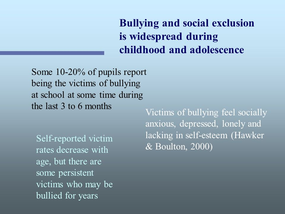 Bullying and social exclusion is widespread during childhood and adolescence Some 10-20% of pupils report being the victims of bullying at school at some time during the last 3 to 6 months Victims of bullying feel socially anxious, depressed, lonely and lacking in self-esteem (Hawker & Boulton, 2000) Self-reported victim rates decrease with age, but there are some persistent victims who may be bullied for years