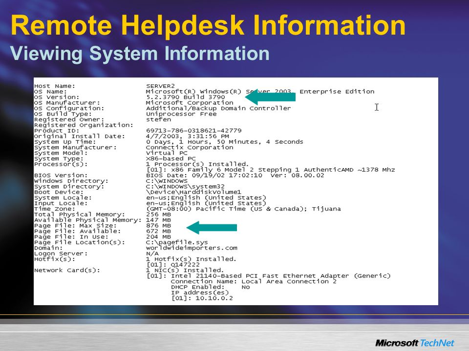 Remote Helpdesk Information Viewing System Information