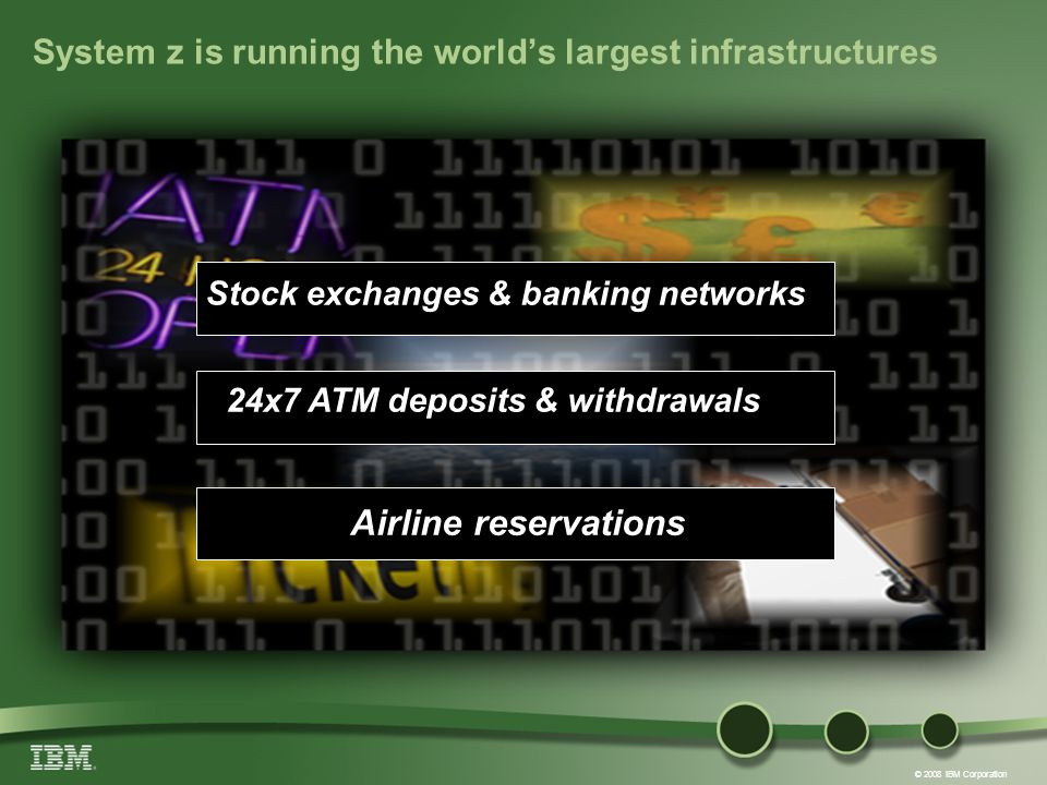 © 2008 IBM Corporation System z is running the worlds largest infrastructures Airline reservations 24x7 ATM deposits & withdrawals Stock exchanges & banking networks