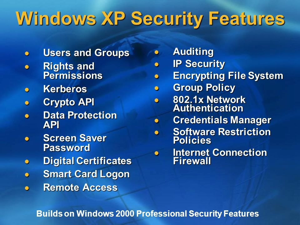 Security Features in Microsoft® Windows® XP James Noyce