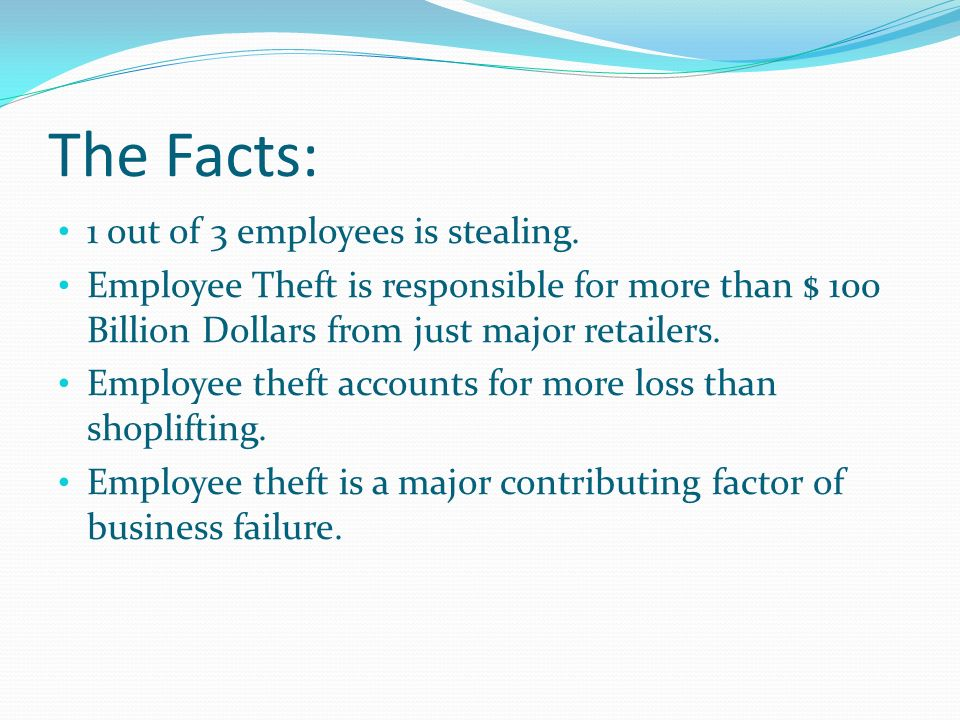 The Facts: 1 out of 3 employees is stealing.