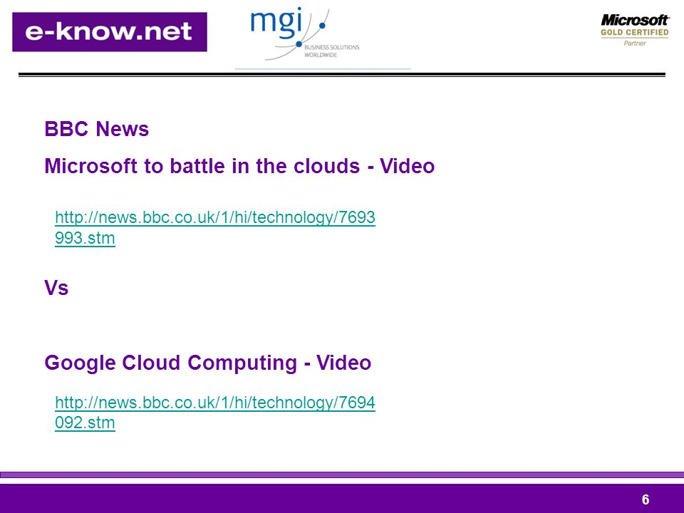 BBC News Microsoft to battle in the clouds - Video Vs Google Cloud Computing - Video stm stm