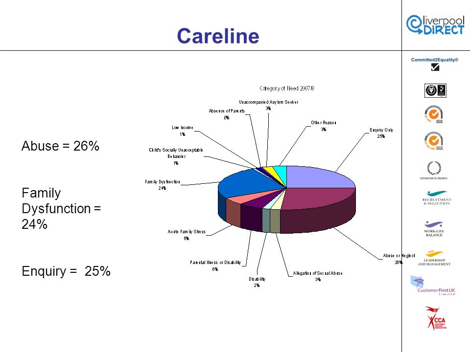 Careline Abuse = 26% Family Dysfunction = 24% Enquiry = 25%