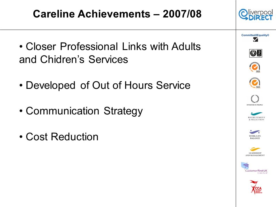 Careline Achievements – 2007/08 Closer Professional Links with Adults and Chidrens Services Developed of Out of Hours Service Communication Strategy Cost Reduction