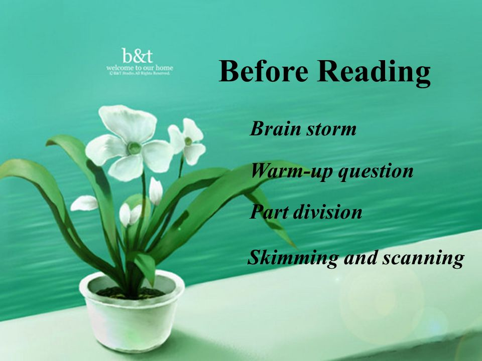 Before Reading Brain storm Warm-up question Part division Skimming and scanning