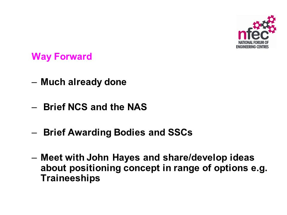 Way Forward –Much already done – Brief NCS and the NAS – Brief Awarding Bodies and SSCs –Meet with John Hayes and share/develop ideas about positioning concept in range of options e.g.