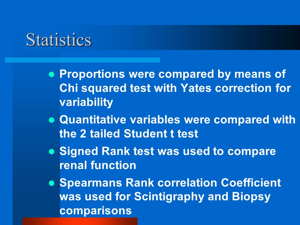 Statistics Proportions were compared by means of Chi squared test with Yates correction for variability Quantitative variables were compared with the 2 tailed Student t test Signed Rank test was used to compare renal function Spearmans Rank correlation Coefficient was used for Scintigraphy and Biopsy comparisons