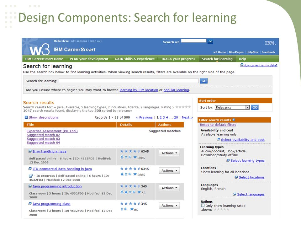 Design Components: Search for learning