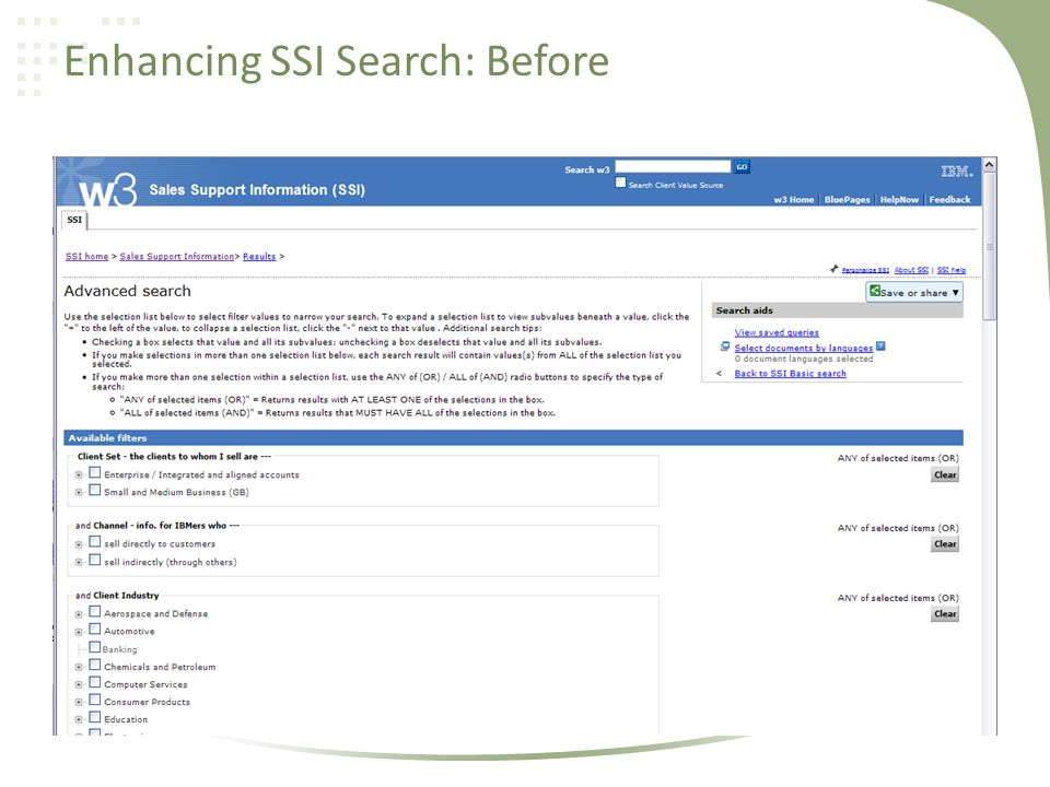 Enhancing SSI Search: Before