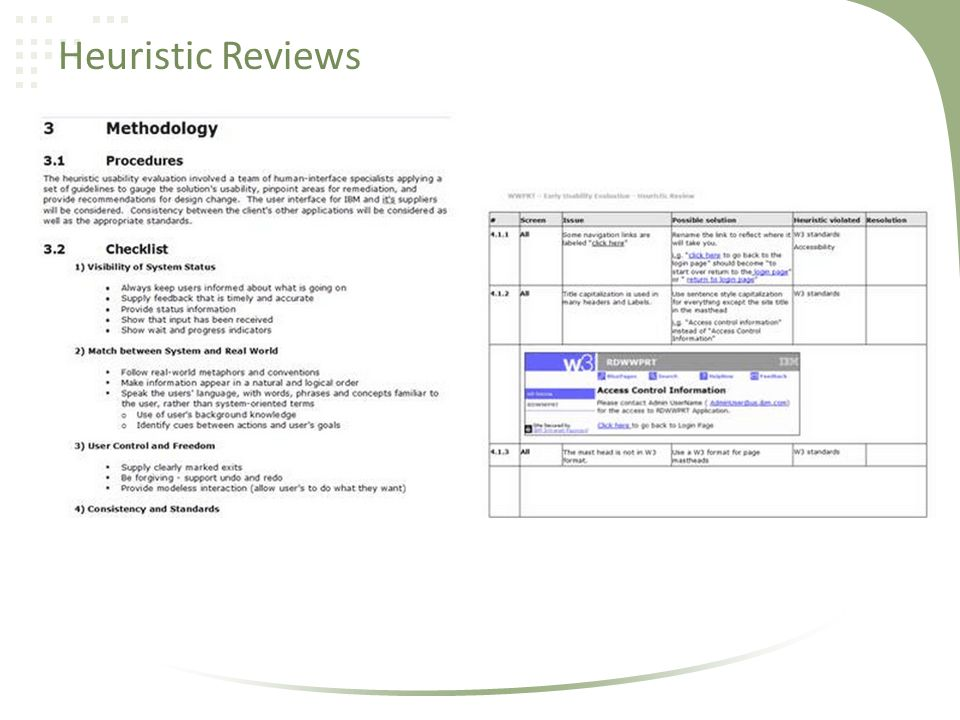 Heuristic Reviews