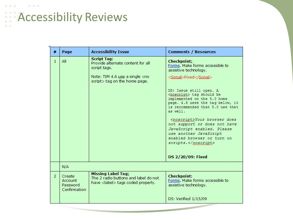 Accessibility Reviews