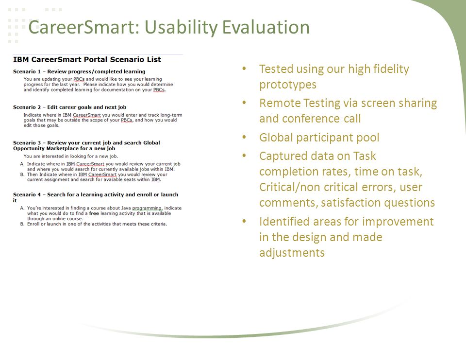 CareerSmart: Usability Evaluation Tested using our high fidelity prototypes Remote Testing via screen sharing and conference call Global participant pool Captured data on Task completion rates, time on task, Critical/non critical errors, user comments, satisfaction questions Identified areas for improvement in the design and made adjustments