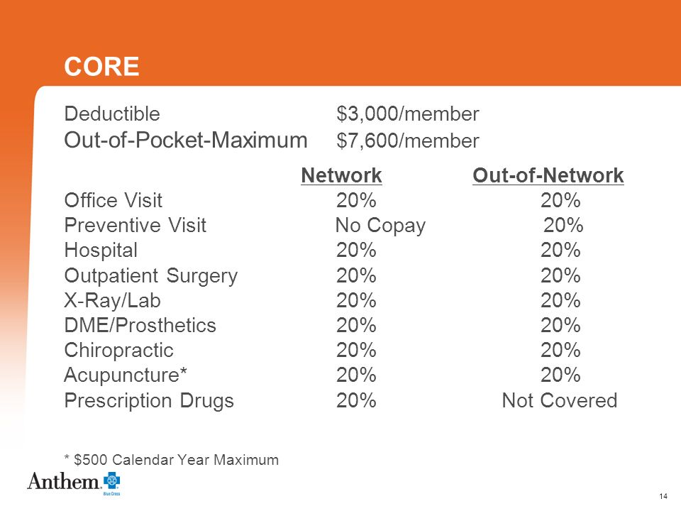 14 CORE Deductible $3,000/member Out-of-Pocket-Maximum $7,600/member NetworkOut-of-Network Office Visit 20%20% Preventive Visit No Copay 20% Hospital 20%20% Outpatient Surgery 20%20% X-Ray/Lab 20%20% DME/Prosthetics20%20% Chiropractic20%20% Acupuncture*20%20% Prescription Drugs20% Not Covered * $500 Calendar Year Maximum