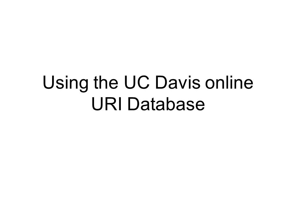 Using the UC Davis online URI Database
