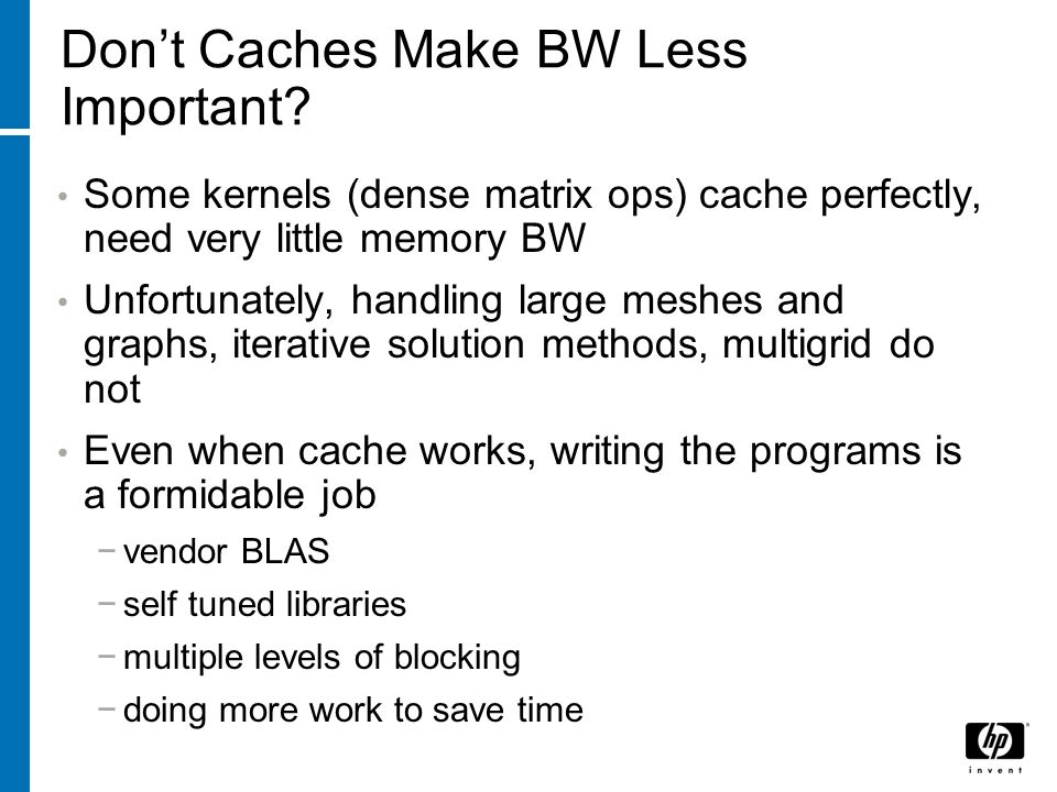 Dont Caches Make BW Less Important.