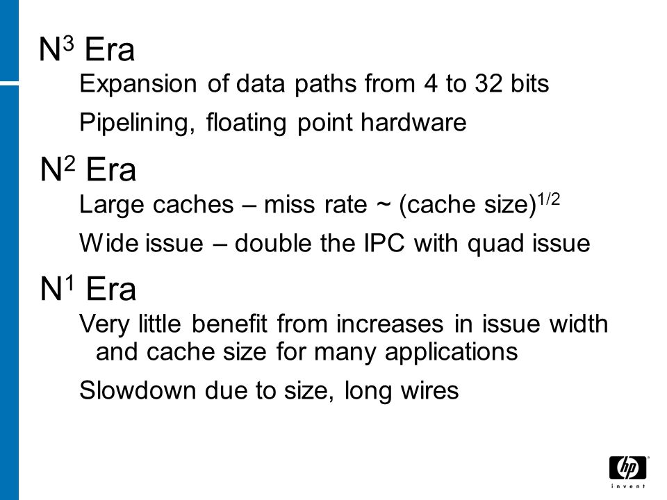 N 3 Era Expansion of data paths from 4 to 32 bits Pipelining, floating point hardware N 2 Era Large caches – miss rate ~ (cache size) 1/2 Wide issue – double the IPC with quad issue N 1 Era Very little benefit from increases in issue width and cache size for many applications Slowdown due to size, long wires