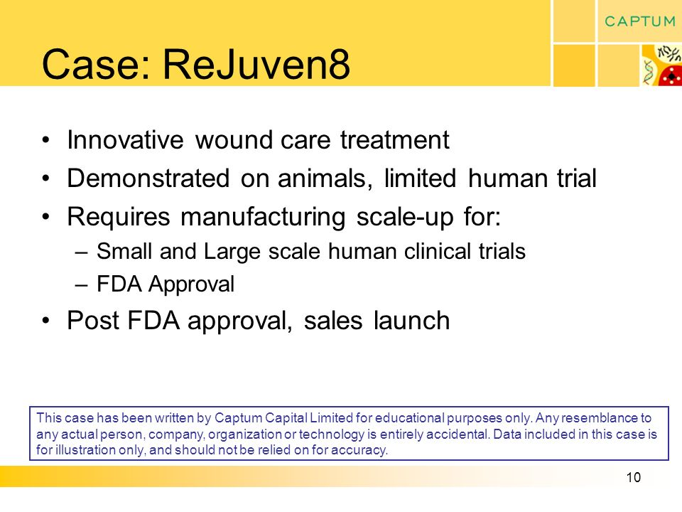 10 Case: ReJuven8 Innovative wound care treatment Demonstrated on animals, limited human trial Requires manufacturing scale-up for: –Small and Large scale human clinical trials –FDA Approval Post FDA approval, sales launch This case has been written by Captum Capital Limited for educational purposes only.