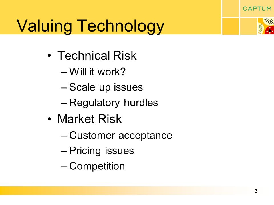 3 Valuing Technology Technical Risk –Will it work.