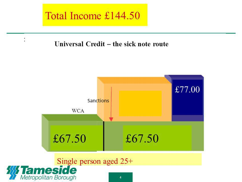 £67.50 £26.75 £32.35 EDP £14.05 SDP £55.30 CP £31.00 Total Income £67.50 £94.25 £99.85 £ £ £ Single person aged 25+ WCA 3