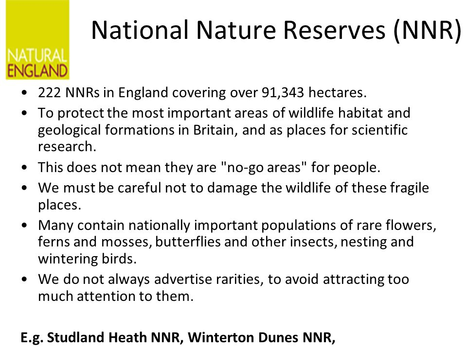 National Nature Reserves (NNR) 222 NNRs in England covering over 91,343 hectares.