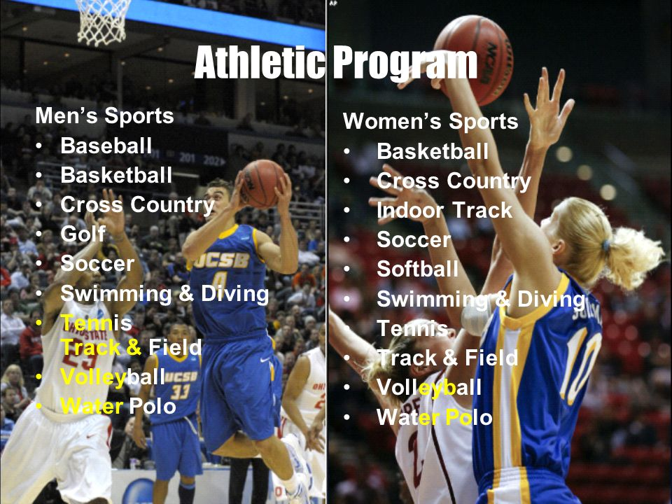 Athletic Program Mens Sports Baseball Basketball Cross Country Golf Soccer Swimming & Diving Tennis Track & Field Volleyball Water Polo Womens Sports Basketball Cross Country Indoor Track Soccer Softball Swimming & Diving Tennis Track & Field Volleyball Water Polo