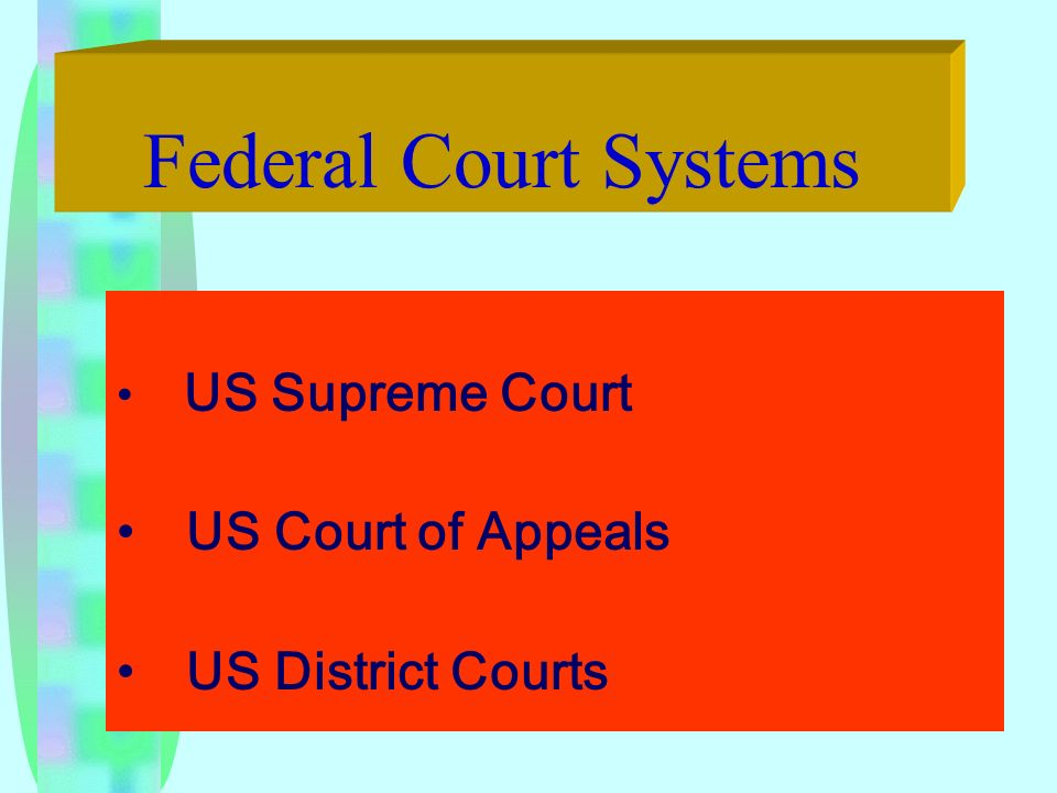 Federal Court Systems US Supreme Court US Court of Appeals US District Courts