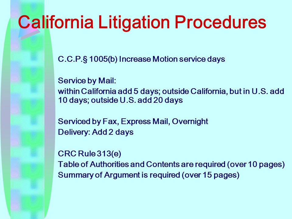 California Litigation Procedures C.C.P.