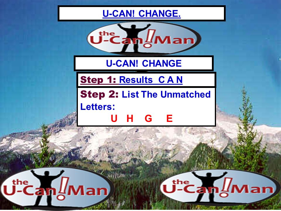 U-CAN! CHANGE. Step 2: List The Unmatched Letters : U H G E U-CAN! CHANGE Step 1: Results C A N