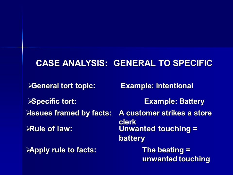 CASE ANALYSIS: GENERAL TO SPECIFIC General tort topic:Example: intentional General tort topic:Example: intentional Specific tort:Example: Battery Specific tort:Example: Battery Issues framed by facts:A customer strikes a store clerk Issues framed by facts:A customer strikes a store clerk Rule of law:Unwanted touching = battery Rule of law:Unwanted touching = battery Apply rule to facts:The beating = unwanted touching Apply rule to facts:The beating = unwanted touching