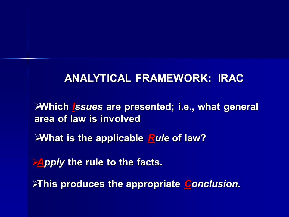 ANALYTICAL FRAMEWORK: IRAC Which Issues are presented; i.e., what general area of law is involved Which Issues are presented; i.e., what general area of law is involved What is the applicable Rule of law.