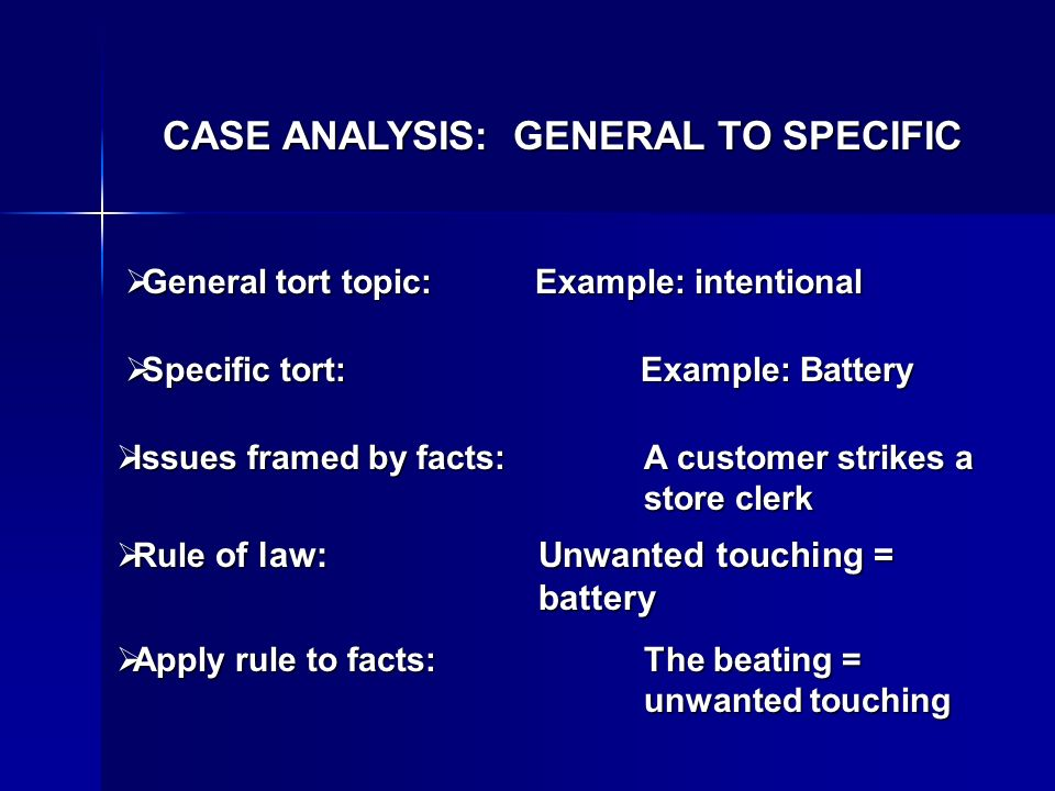 CASE ANALYSIS: GENERAL TO SPECIFIC General tort topic: Example: intentional General tort topic: Example: intentional Specific tort: Example: Battery Specific tort: Example: Battery Issues framed by facts:A customer strikes a store clerk Issues framed by facts:A customer strikes a store clerk Rule of law:Unwanted touching = battery Rule of law:Unwanted touching = battery Apply rule to facts:The beating = unwanted touching Apply rule to facts:The beating = unwanted touching