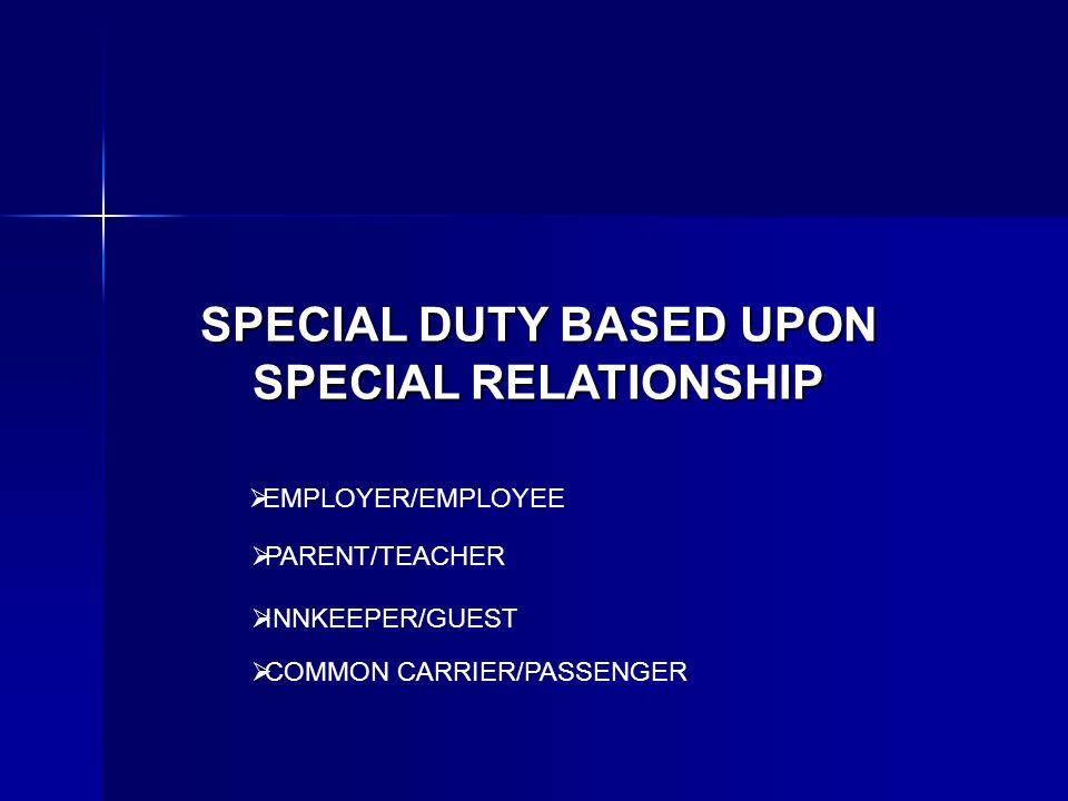 SPECIAL DUTY BASED UPON SPECIAL RELATIONSHIP EMPLOYER/EMPLOYEE PARENT/TEACHER INNKEEPER/GUEST COMMON CARRIER/PASSENGER