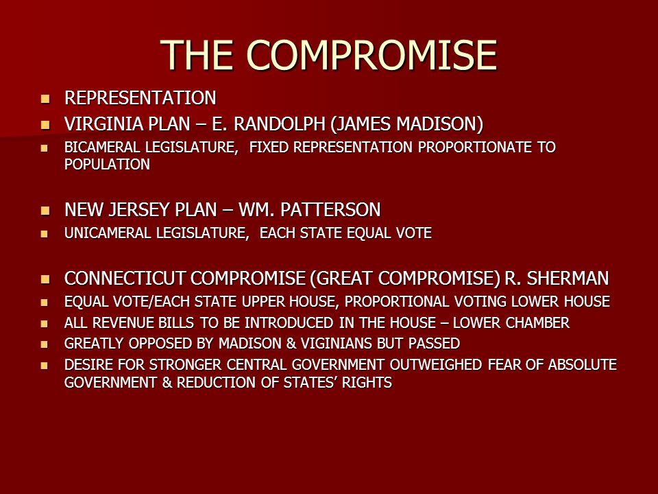 THE COMPROMISE REPRESENTATION REPRESENTATION VIRGINIA PLAN – E.