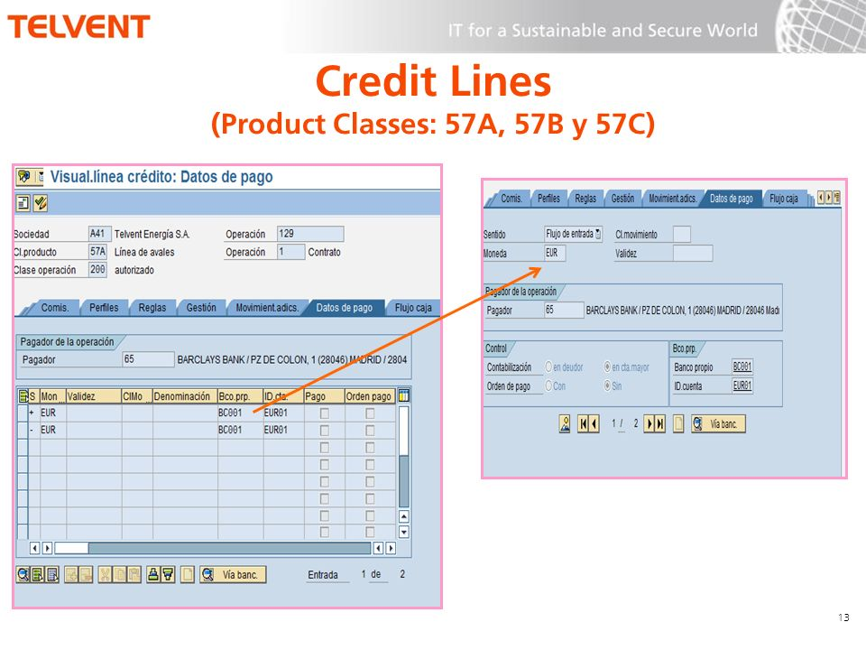 13 Credit Lines (Product Classes: 57A, 57B y 57C)