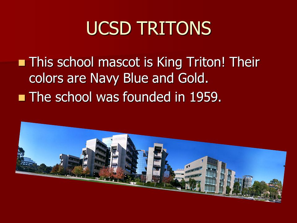 UCSD TRITONS This school mascot is King Triton. Their colors are Navy Blue and Gold.